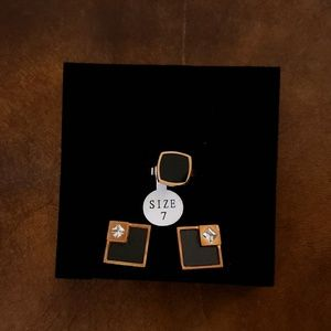 Rose Gold Jewelry Ring and Earrings Set Size 7